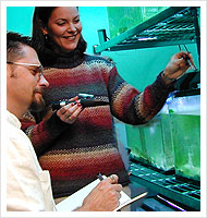 Woman and man look at aquarium tank. Man is taking notes in notebook.